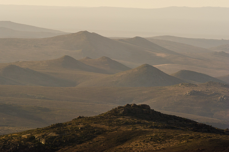 Rolling hills and valleys of Namaqua National Park at dusk